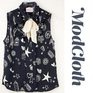 Modcloth Moon Collection Doodle Sleeveless Top Sm